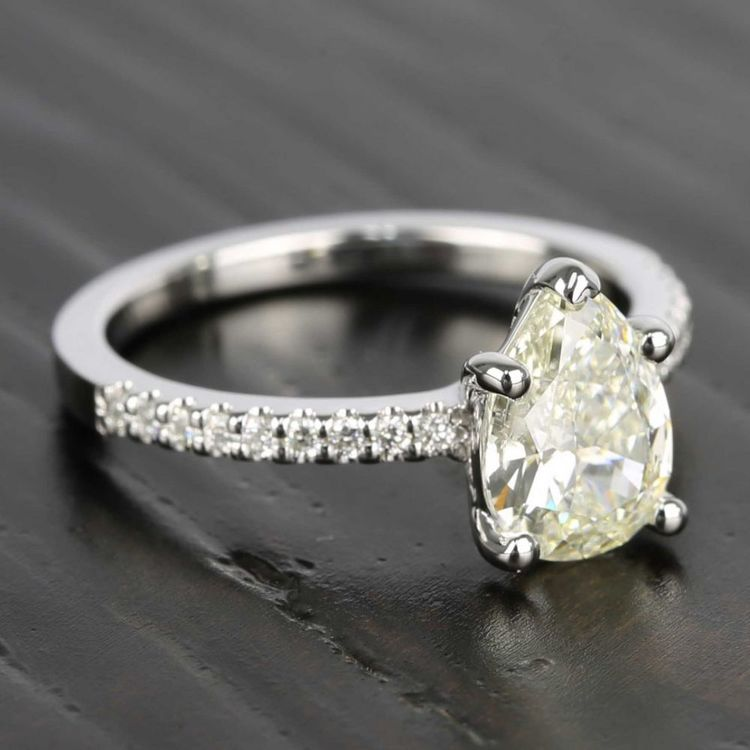 Pear Diamond Scallop Engagement Ring (1.50 Carat) angle 3