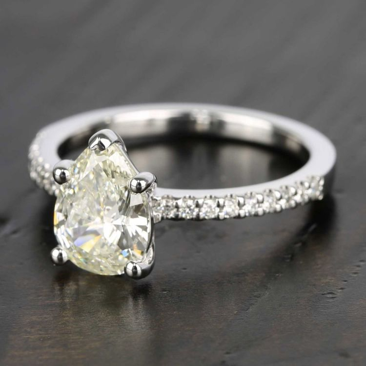 Pear Diamond Scallop Engagement Ring (1.50 Carat) angle 2