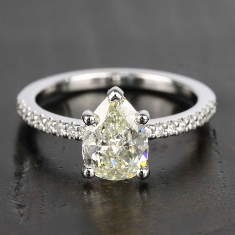 Pear Diamond Scallop Engagement Ring (1.50 Carat)