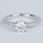 Round Diamond Engagement Ring with Scallop Pave - small