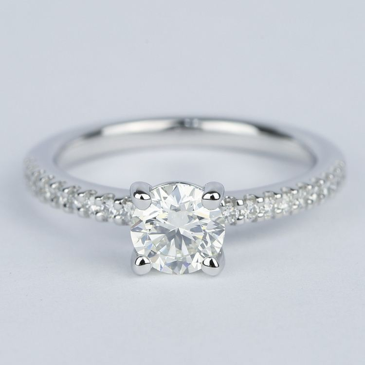Round Diamond Engagement Ring with Scallop Pave