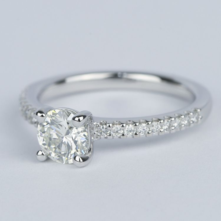 Round Diamond Engagement Ring with Scallop Pave angle 2
