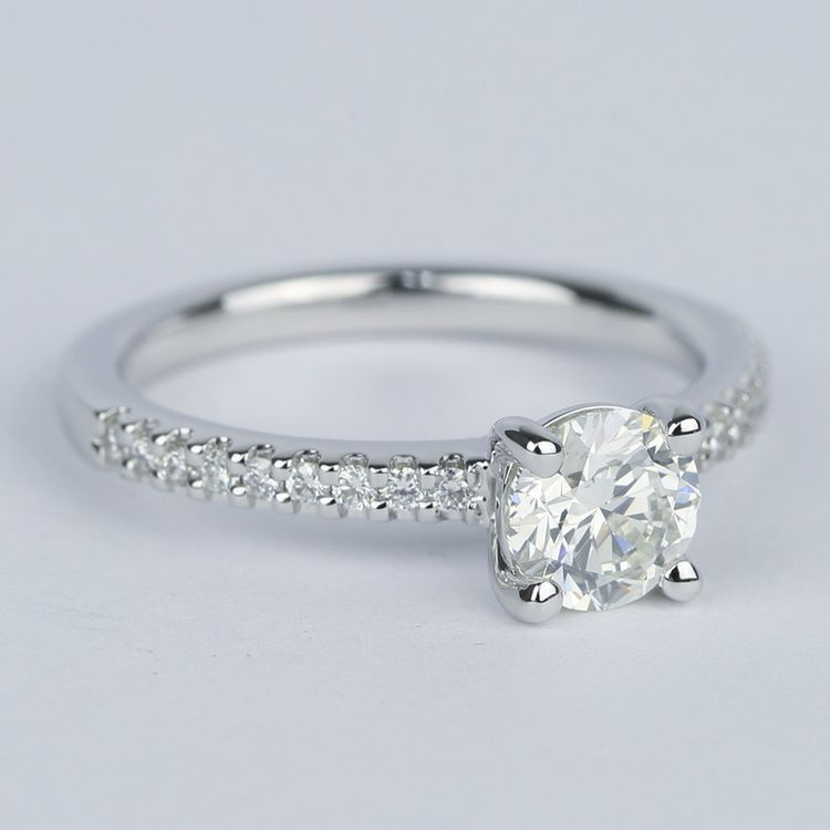 Round Diamond Engagement Ring with Scallop Pave angle 3
