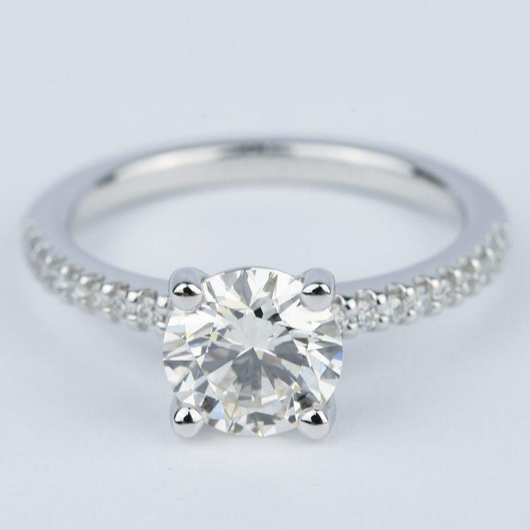 1.57 Carat Round Diamond Scallop Engagement Ring