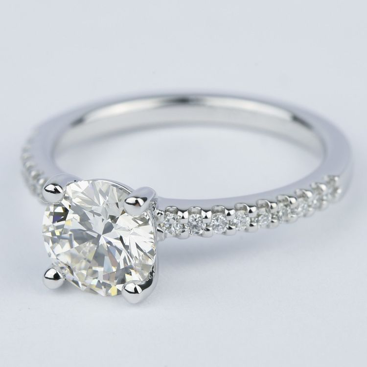 1.57 Carat Round Diamond Scallop Engagement Ring angle 2