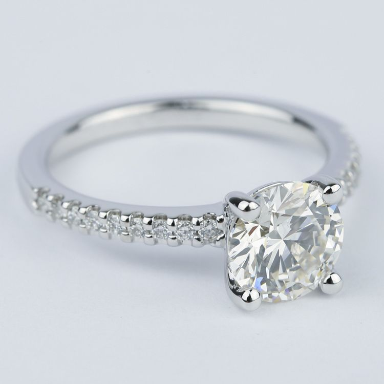 1.57 Carat Round Diamond Scallop Engagement Ring angle 3
