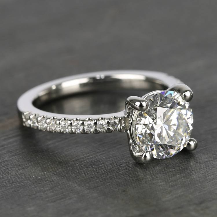 E Color Diamond Scallop Engagement Ring (1.80 ct.) angle 3