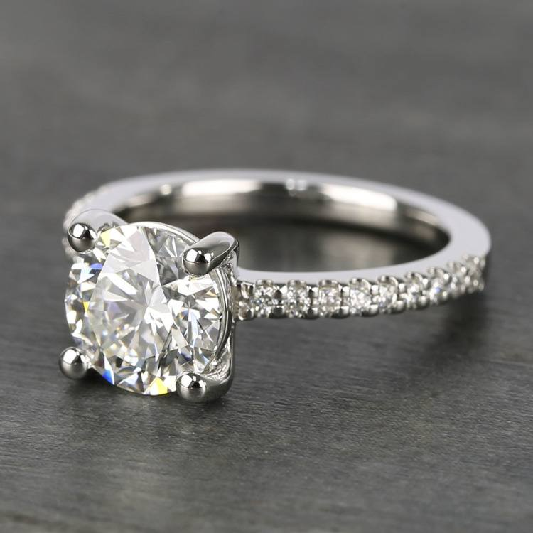 E Color Diamond Scallop Engagement Ring (1.80 ct.) angle 2