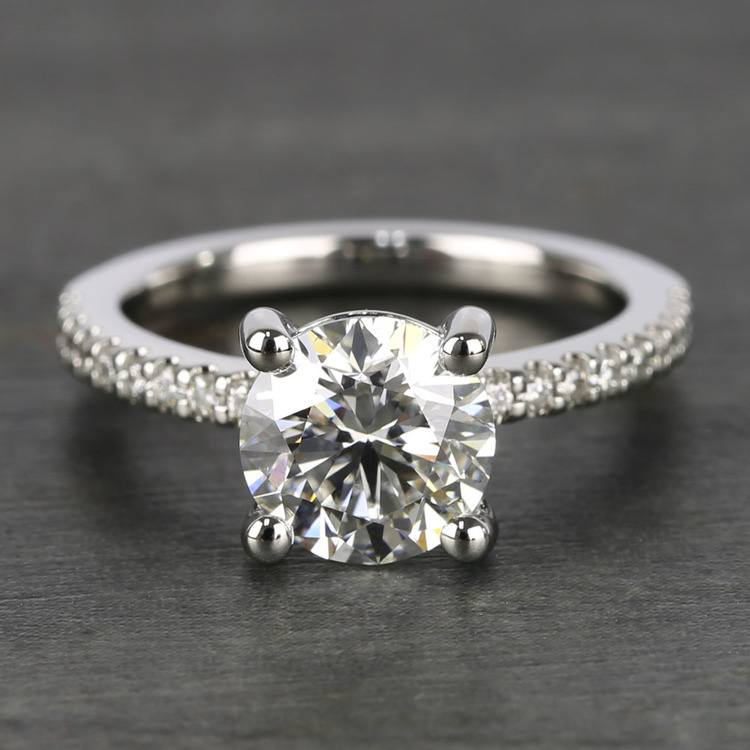E Color Diamond Scallop Engagement Ring (1.80 ct.)