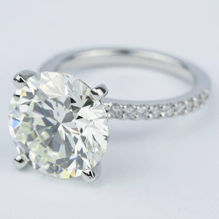 6 Carat Round Cut Diamond with Petite Engagement Ring angle 2
