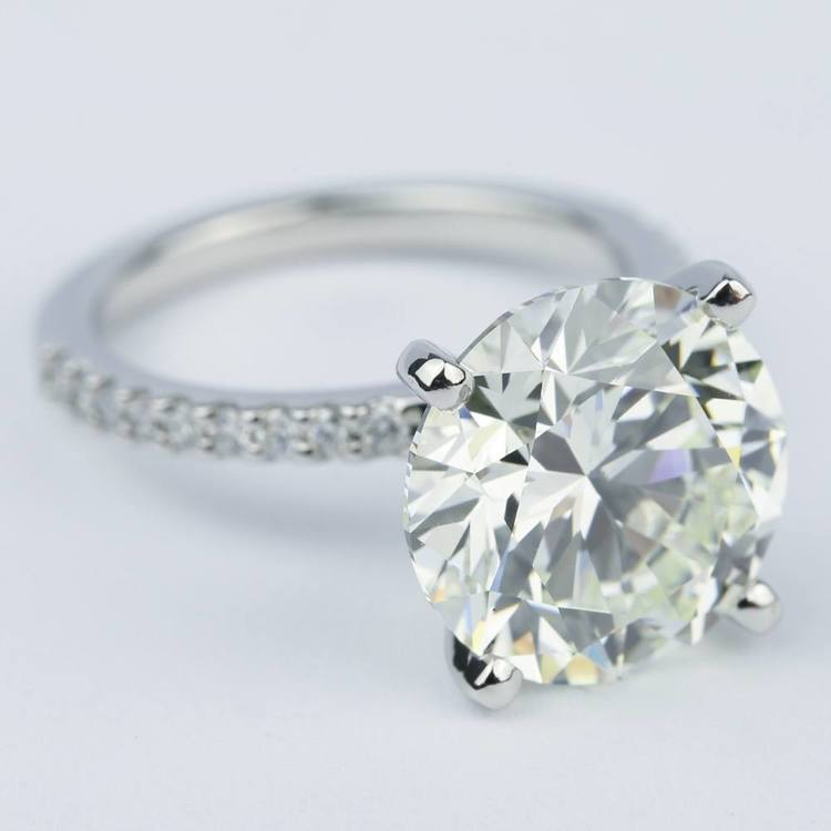 6 Carat Round Cut Diamond with Petite Engagement Ring angle 3