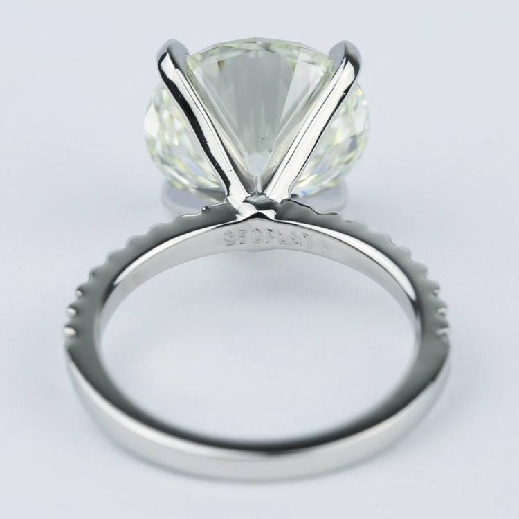 6 Carat Round Cut Diamond with Petite Engagement Ring angle 4