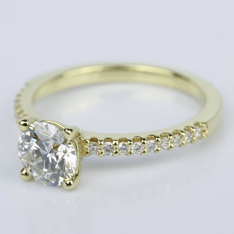Scallop Diamond Engagement Ring in Yellow Gold (1.14 ct.) angle 2