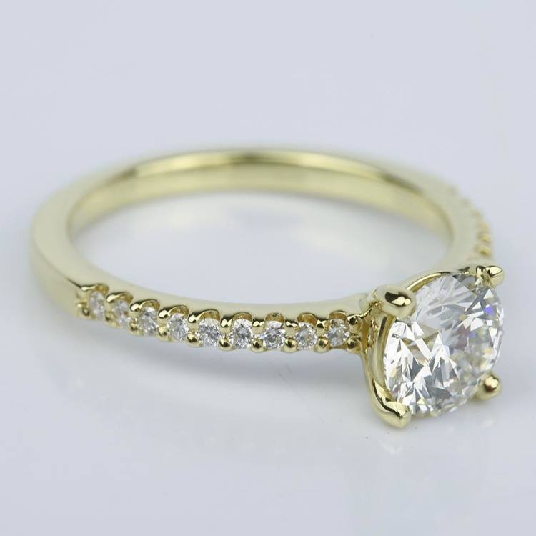Scallop Diamond Engagement Ring in Yellow Gold (1.14 ct.) angle 3