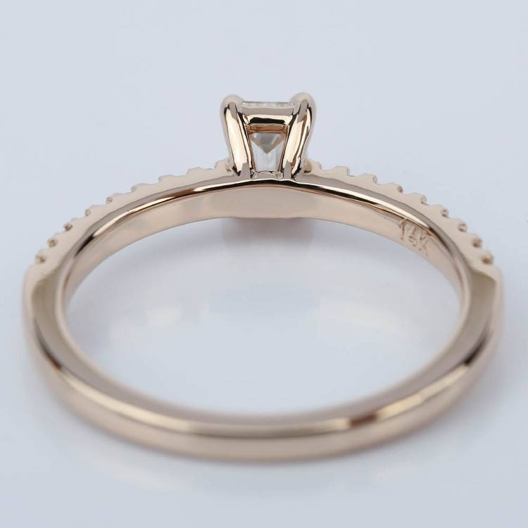 Scallop Emerald Diamond Engagement Ring in Rose Gold (.49 ct.) angle 4