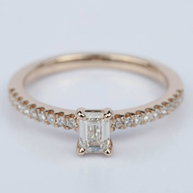 Scallop Emerald Diamond Engagement Ring in Rose Gold (.49 ct.)