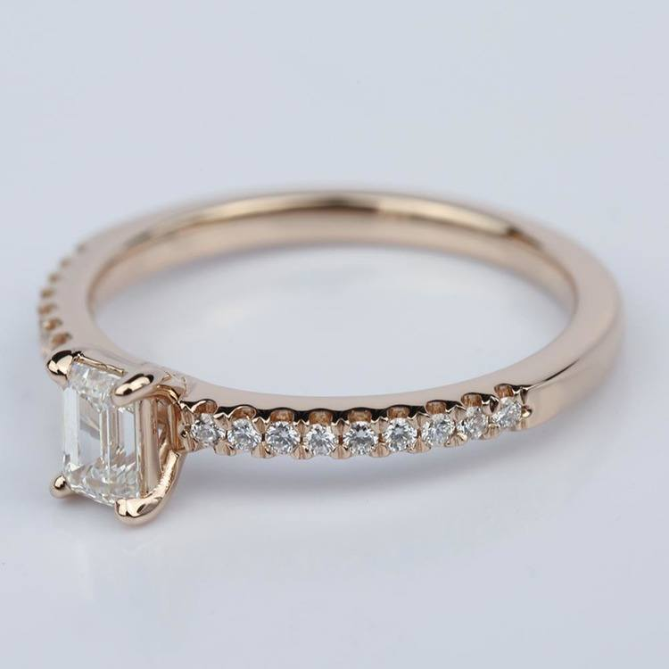 Scallop Emerald Diamond Engagement Ring in Rose Gold (.49 ct.) angle 2