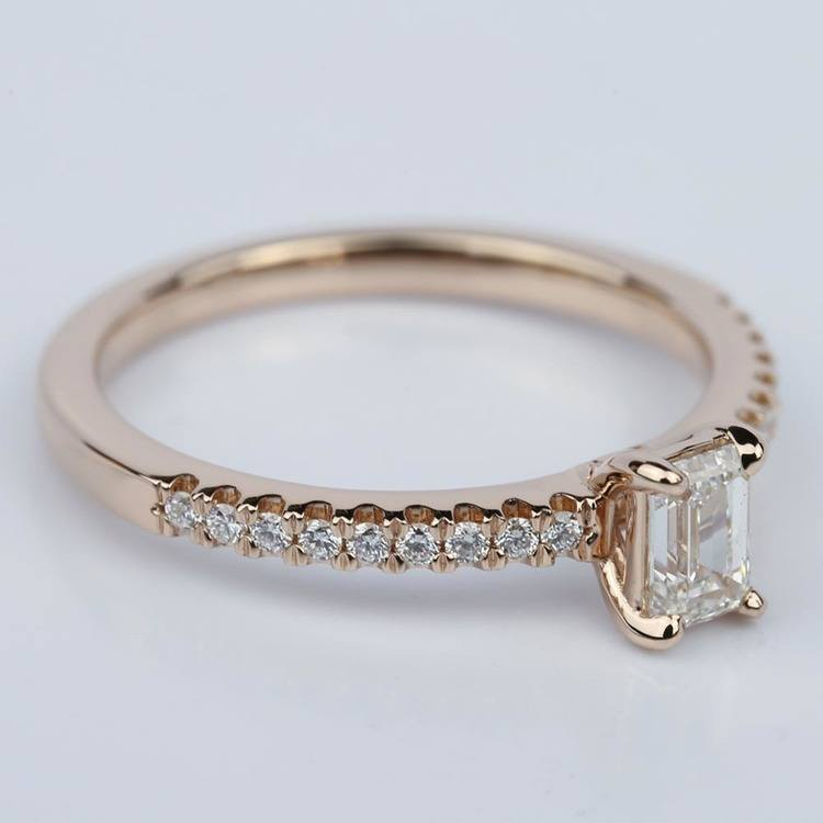 Scallop Emerald Diamond Engagement Ring in Rose Gold (.49 ct.) angle 3