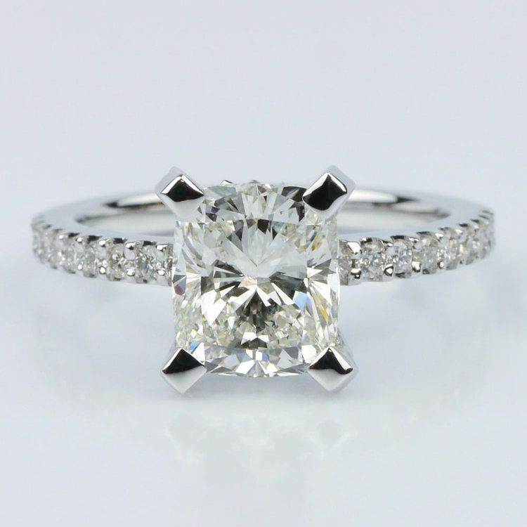 Scallop Engagement Ring with a Cushion Diamond (1.70 ct.)