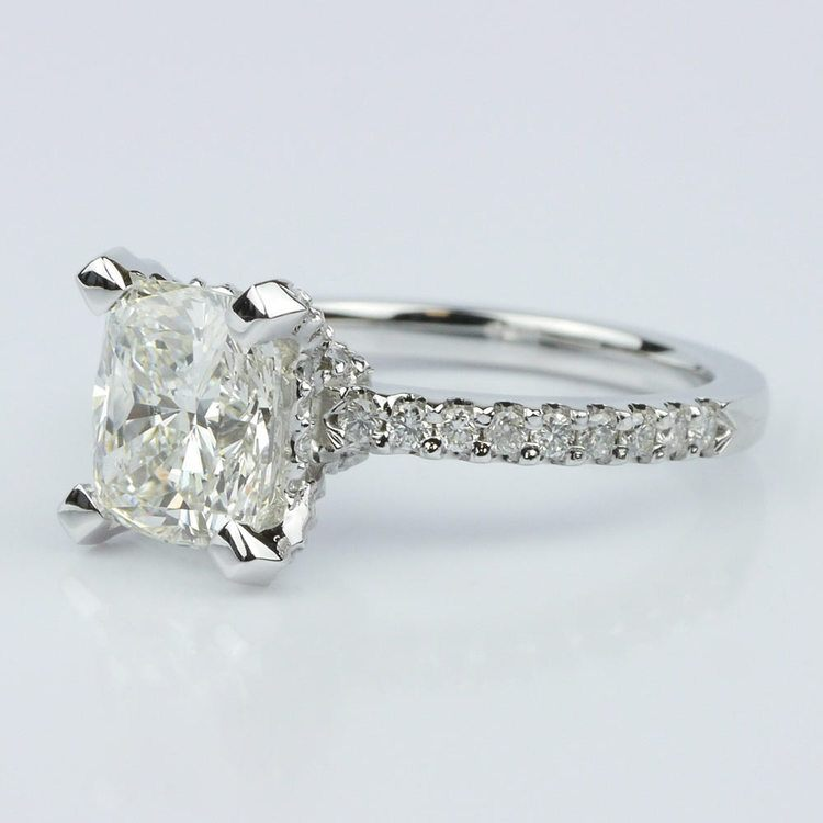 Scallop Engagement Ring with a Cushion Diamond (1.70 ct.) angle 2