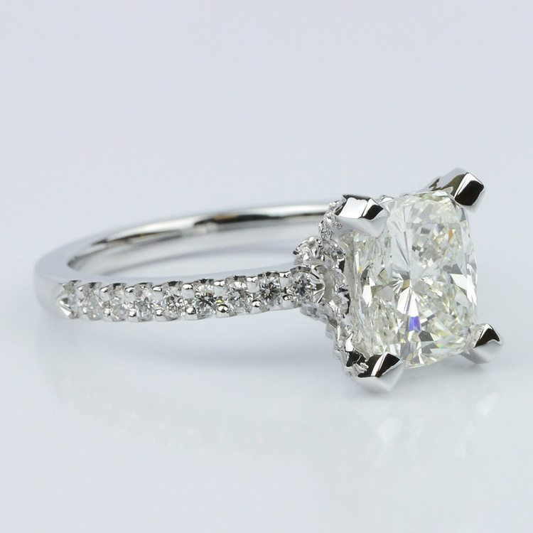 Scallop Engagement Ring with a Cushion Diamond (1.70 ct.) angle 3