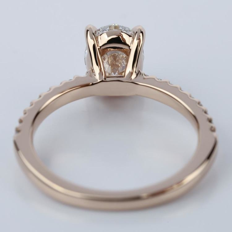 Scallop Oval Diamond Engagement Ring in Rose Gold (1.31 Carat) angle 4