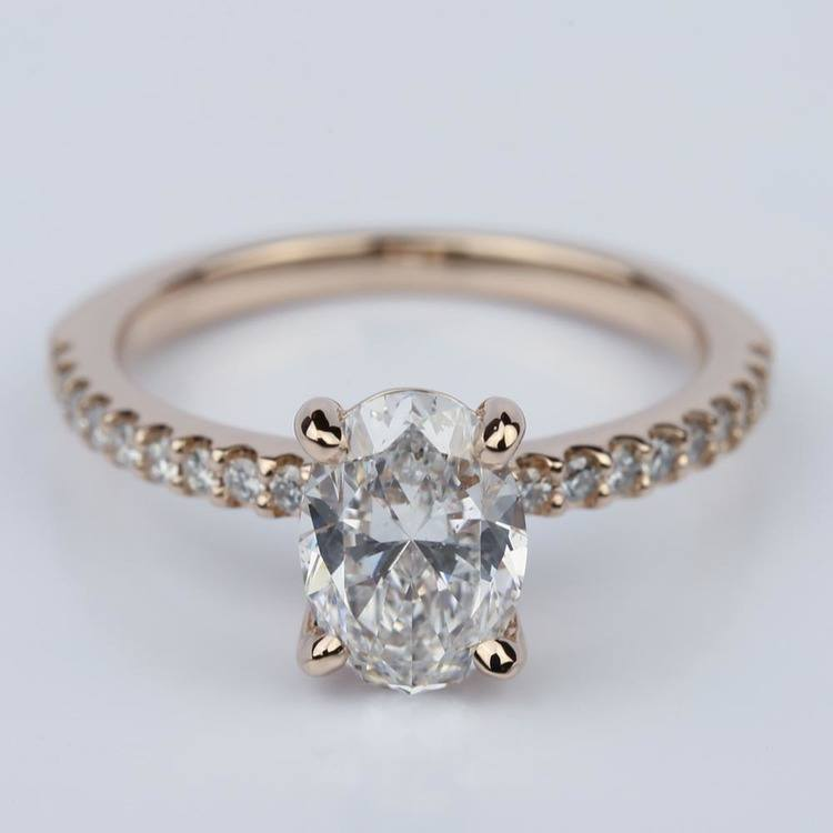 Scallop Oval Diamond Engagement Ring in Rose Gold (1.31 Carat)