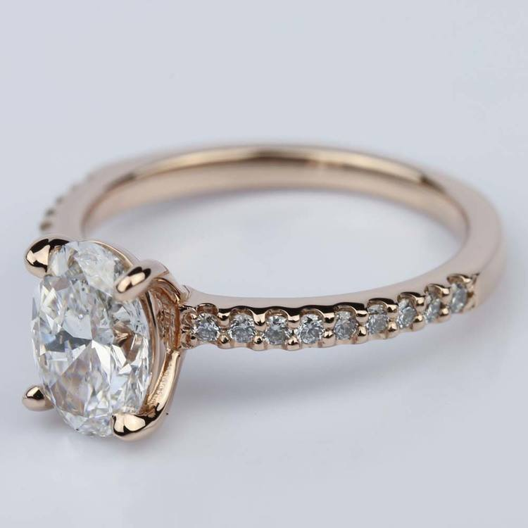 Scallop Oval Diamond Engagement Ring in Rose Gold (1.31 Carat) angle 2