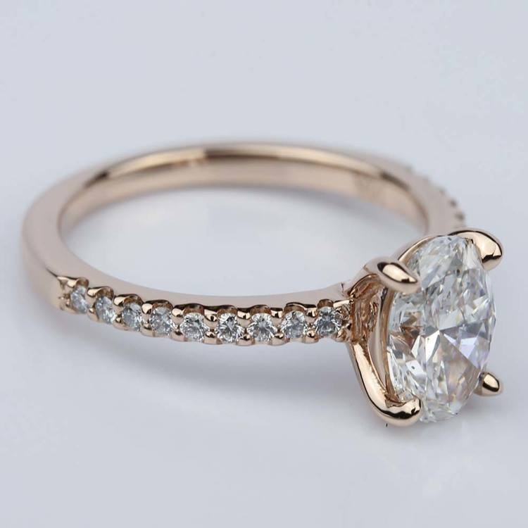 Scallop Oval Diamond Engagement Ring in Rose Gold (1.31 Carat) angle 3