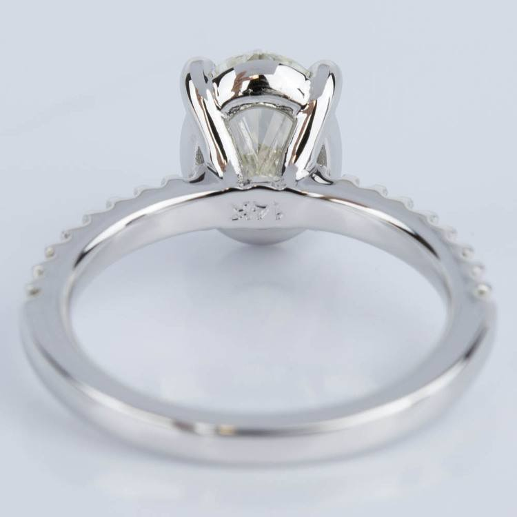 Scallop Oval Diamond Engagement Ring in White Gold (1.74 ct.) angle 4