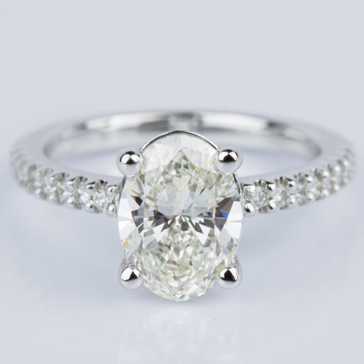 Scallop Oval Diamond Engagement Ring in White Gold (1.74 ct.)