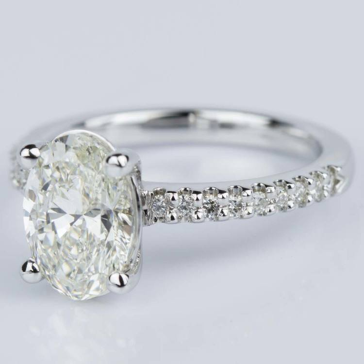 Scallop Oval Diamond Engagement Ring in White Gold (1.74 ct.) angle 2