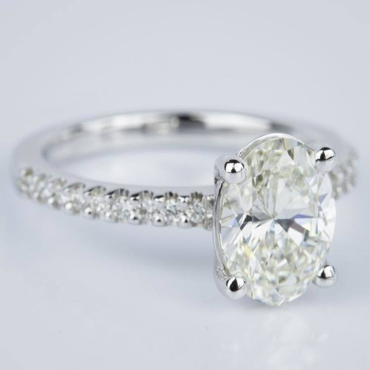 Scallop Oval Diamond Engagement Ring in White Gold (1.74 ct.) angle 3