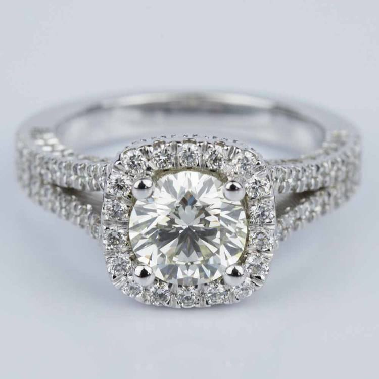Scallop Three-Sided Halo Diamond Engagement Ring (0.85 ct.)