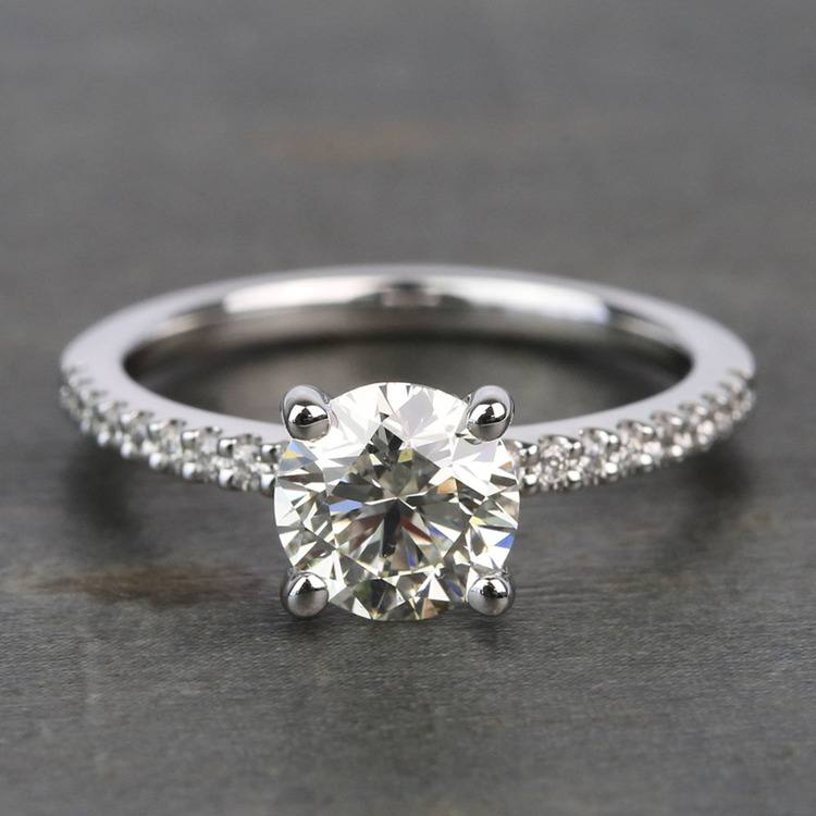 Scalloped 1.5 Carat Round Diamond Engagement Ring