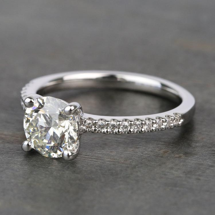 Scalloped 1.5 Carat Round Diamond Engagement Ring angle 2