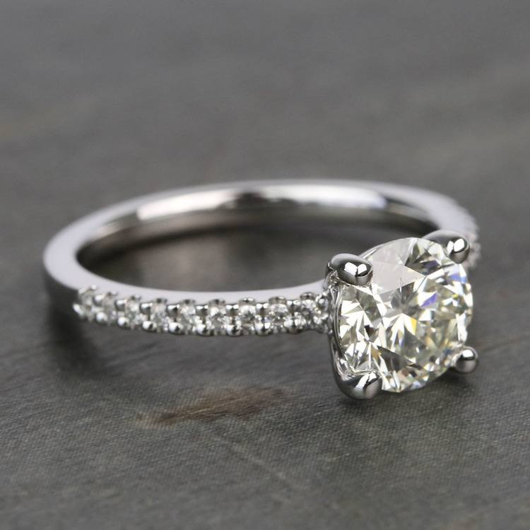 Scalloped 1.5 Carat Round Diamond Engagement Ring angle 3