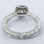 Scroll-Work Milgrain Halo Diamond Engagement Ring (0.92 ct.) - small angle 4
