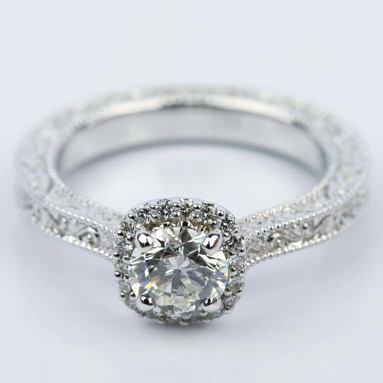 Scroll-Work Milgrain Halo Diamond Engagement Ring (0.92 ct.)