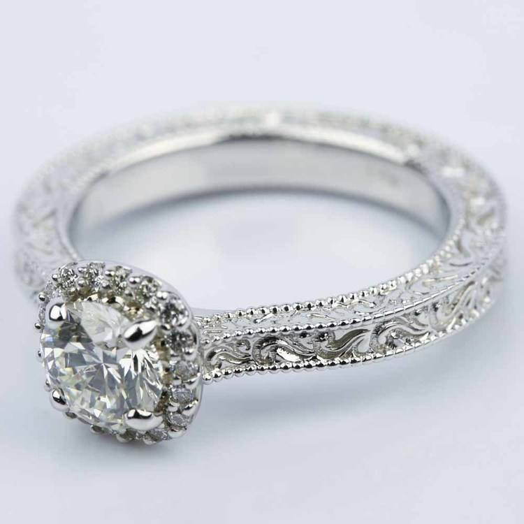 Scroll-Work Milgrain Halo Diamond Engagement Ring (0.92 ct.) angle 2
