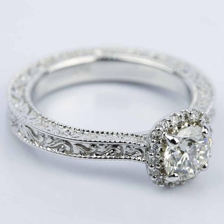 Scroll-Work Milgrain Halo Diamond Engagement Ring (0.92 ct.) angle 3