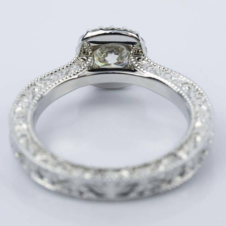Scroll-Work Milgrain Halo Diamond Engagement Ring (0.92 ct.) angle 4