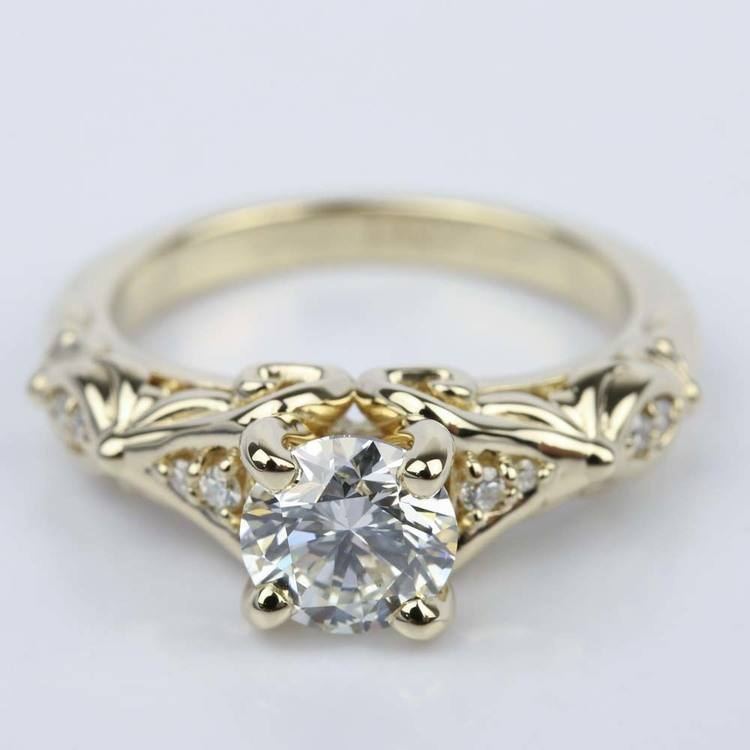 Sculpted Garland Diamond Engagement Ring in Yellow Gold (1.40 ct.)