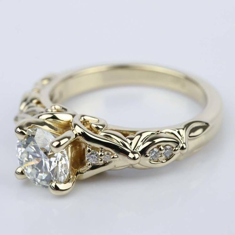 Sculpted Garland Diamond Engagement Ring in Yellow Gold (1.40 ct.) angle 2