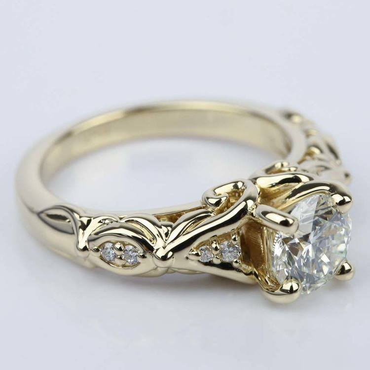 Sculpted Garland Diamond Engagement Ring in Yellow Gold (1.40 ct.) angle 3