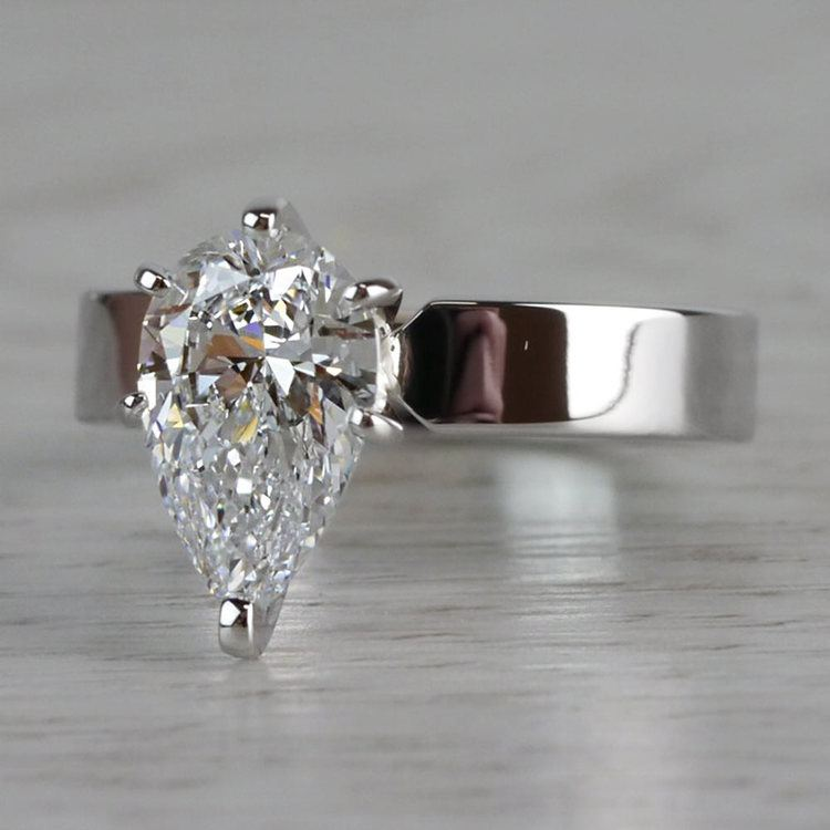 Seamless & Classic Solitaire Pear Shaped Engagement Ring angle 2
