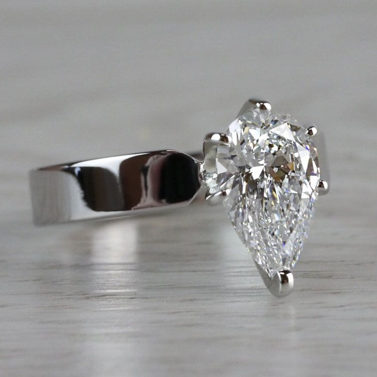 Seamless & Classic Solitaire Pear Shaped Engagement Ring angle 3