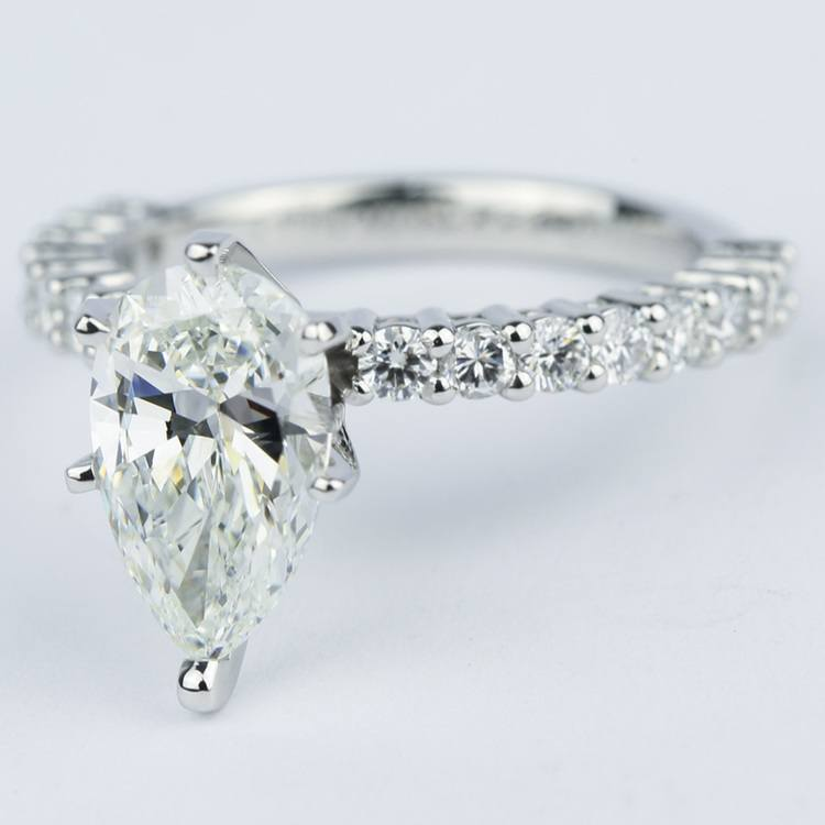 1.92 Carat Pear Diamond Shared Prong Engagement Ring angle 2