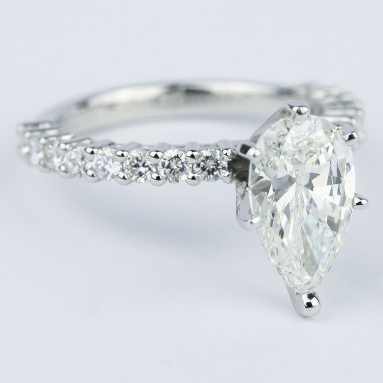 1.92 Carat Pear Diamond Shared Prong Engagement Ring angle 3