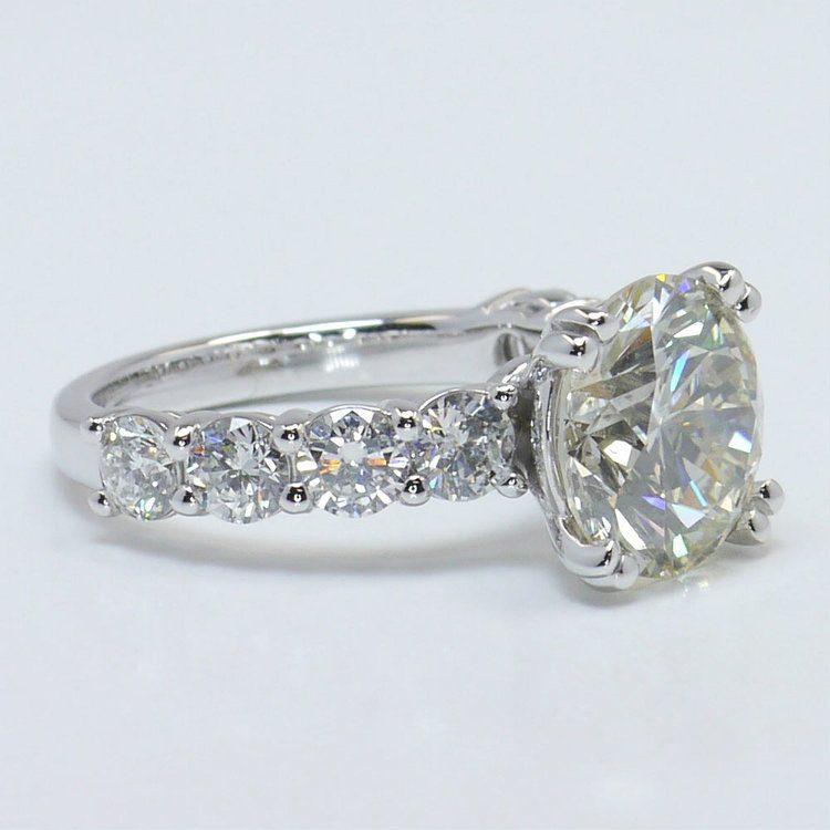 4.36 Carat Custom Round Diamond Engagement Ring angle 2